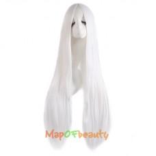 Парик косплей белый длинный прямой 100 см без челки