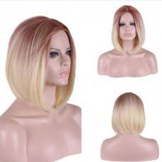 Парик градиент розоватый блонд средний прямой 35 см